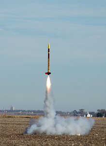 Mark Joseph's BSD 38 Special lifts off with an Aerotech I161 motor in a test flight mainly to estimate wind velocity aloft and verify that the rockets would land within a reasonable distance of the launch site.  Photo by Alan Carroll