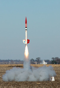 Chris Deem's Chief Cherokee (an upscale version of the Estes Cherokee-D model from 1970) lifts off.  Photo by Alan Carroll