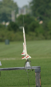 """Greg Smith's Estes Orbital Transport just before launch.  This rocket carries a """"parasite"""" glider on its back that recovers separately.  Photo by Greg Smith"""
