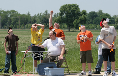 Watching a rocket flight.  Lon Westfall is at launch control.  Photo by Greg Smith