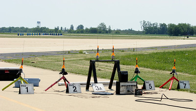 A full rack of student rockets ready for launch.  Photo by Greg Smith