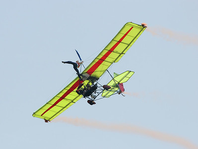 An ultralight wing-walking act at the Chanute Air Festival.  Not in a million years ... Photo by Greg Smith