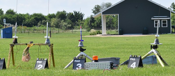 The first rack of four. All the kids built Estes Generic rockets, and flew them on B6-4's.