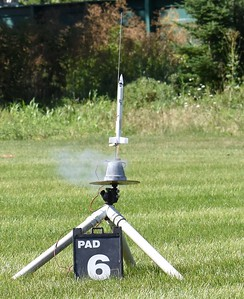 One of the students missed the launch for the Generic rockets, so he got to fly his at this launch.