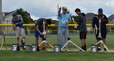 Jonathon Sivier helps out at the launch pads.