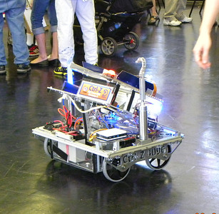 This robot spent most of the day running amok among the crowd. photo by Christopher Brian Deem