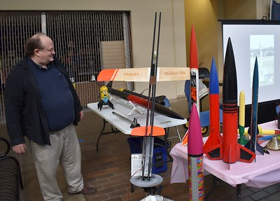 Lon Westfall admires the rockets.