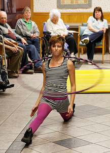 Zachary P. Stephens/Reformer Melissa Knowles, a student from the New England Center for Circus Arts, performs for the residents of the Thompson House Nursing Home in Brattleboro, Tuesday.