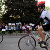 The Ride for Missing and Exploited Children, an annual fundraising bicycle tour, makes a stop at St. Lawrence School in Greece.