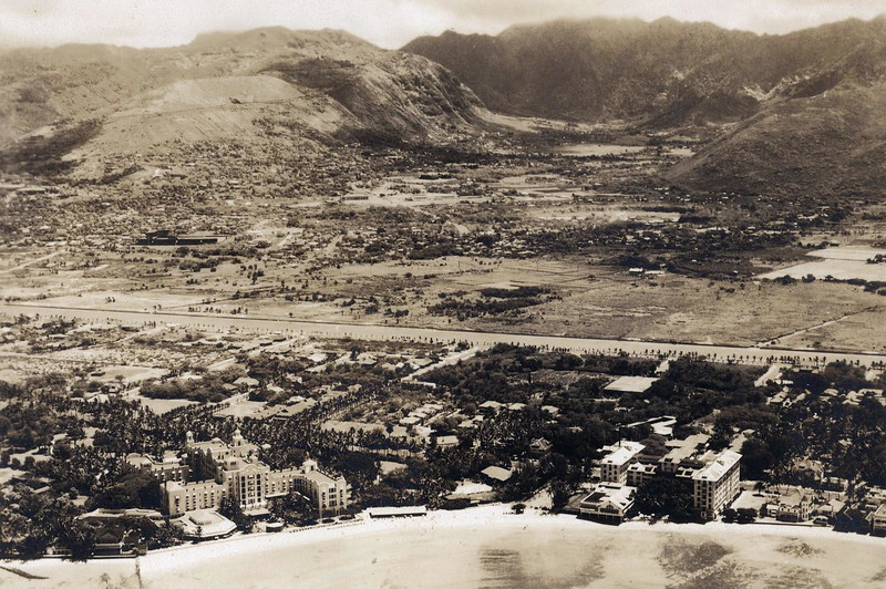Manoa Valley from Waikiki c1930