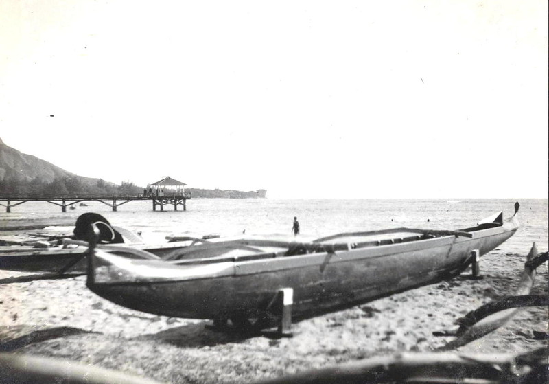 Outrigger Canoe on Waikiki Beach 1914