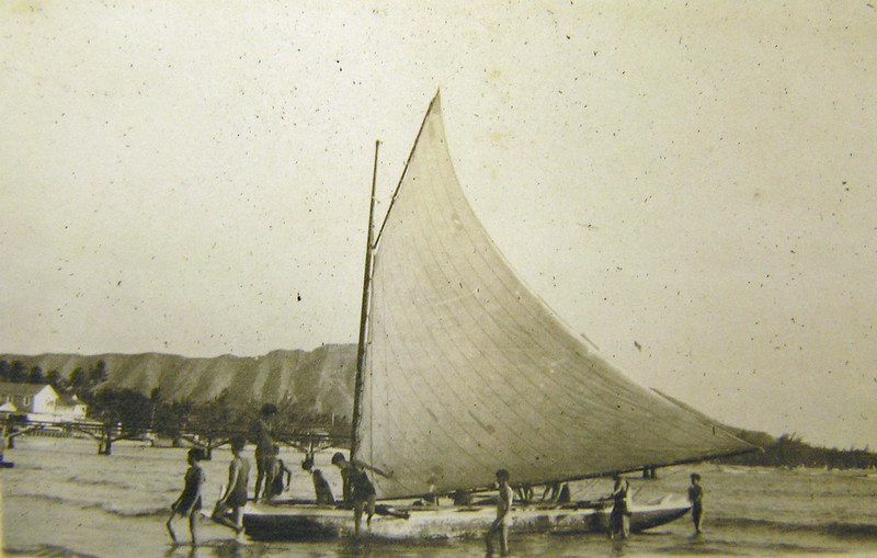 Canoe Sailing at Waikiki Beach 1914