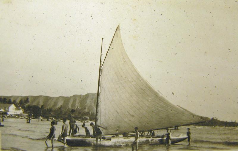 Canoe Sailing at Waikiki Beach 1914