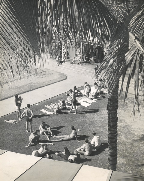 Lazing on lawn opposite volleyball courts