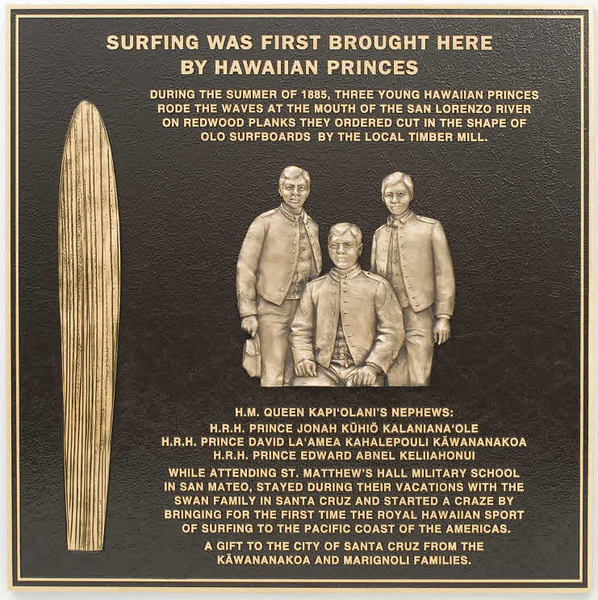 2010 Bronze Plaque Honoring Hawaiian Princes Who Brought Surfing to California