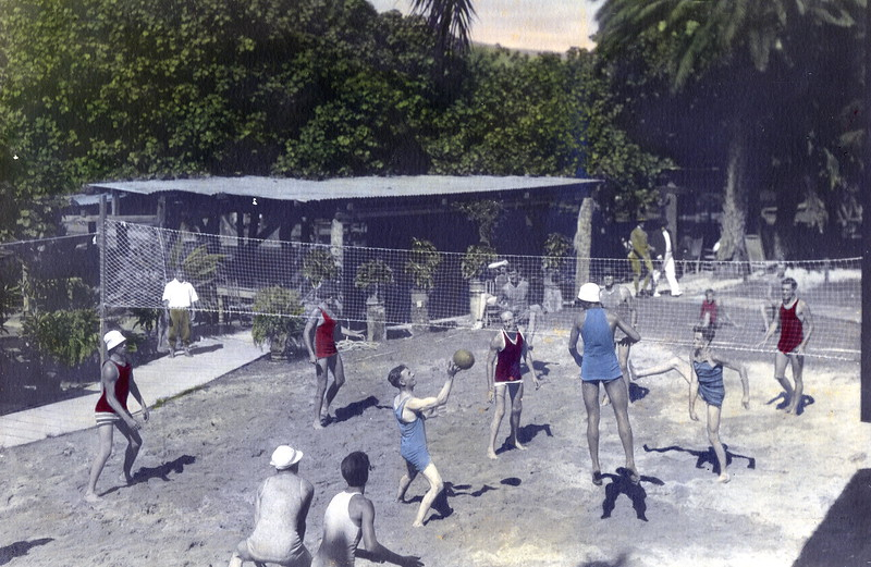 Volleyball Court and picnic tables under Hau tree c1920s