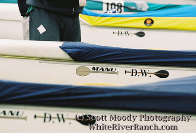 Kikaha canoes all taped up for the rouged Gorge race. Stickers are memorials for Uncle Manu and Duane.