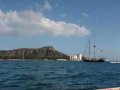 "Tourists on ""Pirate Ship"" and Diamond Head"