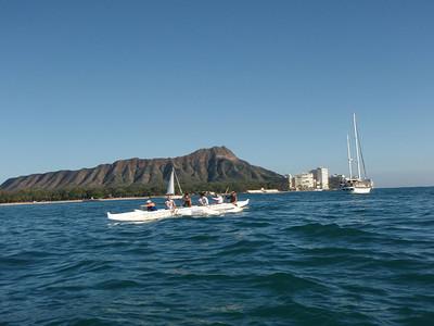 Waikiki Beach Boys Canoe and Diamond Head
