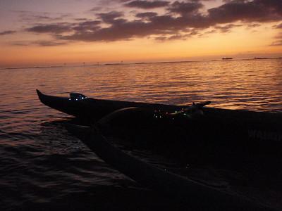 Waikiki Beach Boys Canoe and Sunset