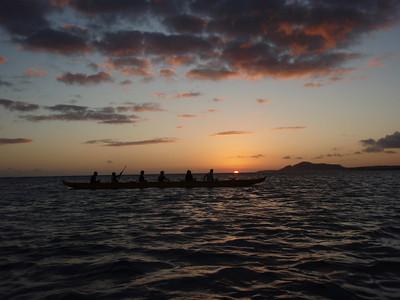 Sunset and a Hui Nalu Canoe