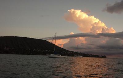 Sailboat, Clouds, and Koko Crater at Sunset