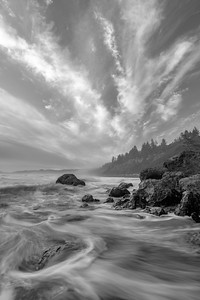Sky over Ruby Beach in Black and White  over Ruby Beach in Black and White