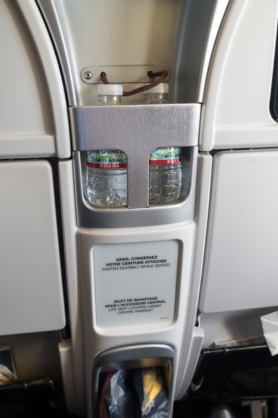Some of the amenities of Premium Economy - water bottles provided...