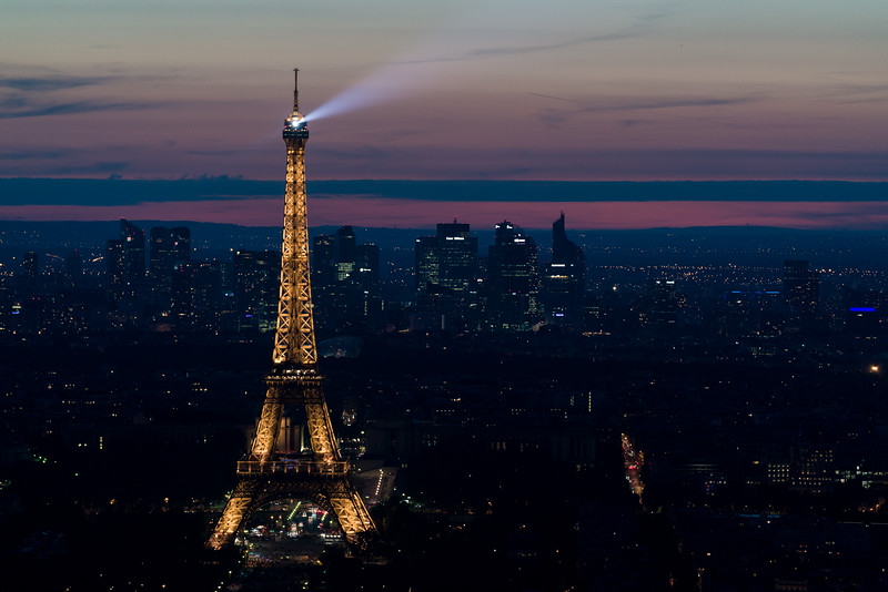 La Tour Eiffel with searchlight