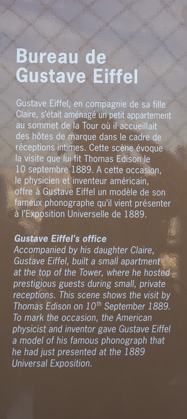 Plaque for Gustave Eiffel's office at the top of La Tour Eiffel.