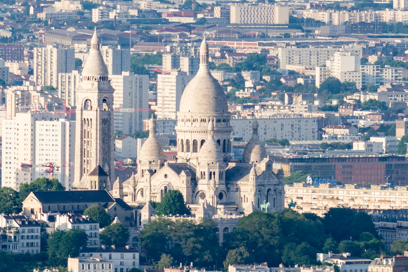 Close up of Sacré-Cœur as seen from top of La Tour Eiffel.