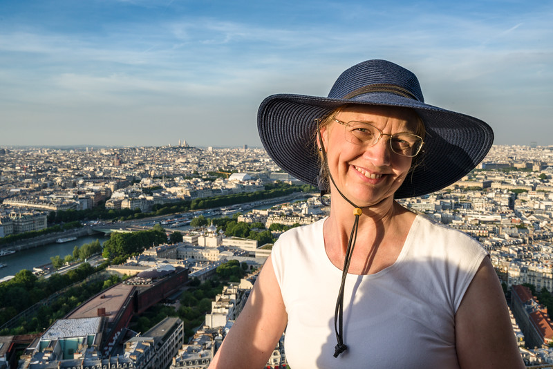 Naomi (with Sacré-Cœur in the distance) as seen from the middle of La Tour Eiffel (time is around 8:45 pm).