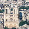 Close up of Notre Dame de Paris as seen from top of La Tour Eiffel.