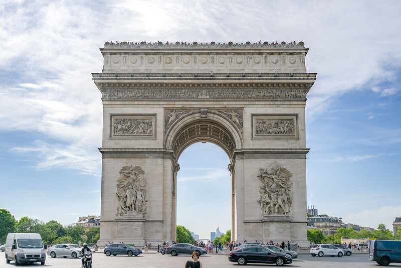 L'Arc de Triomphe with its 30 shields on the top representing major French victories during the French Revolution and Napoleonic Wars.