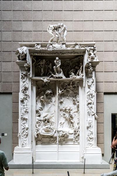 A copy of Rodin's La Porte de l'Enfer (The gates of Hell).