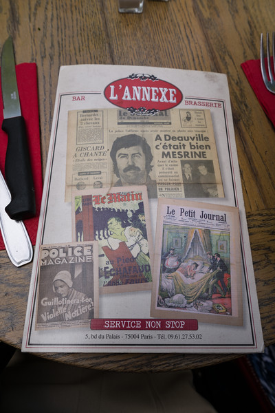 Lunch menu for L'Annexe. Good lunch right across the street from Sainte-Chapelle.