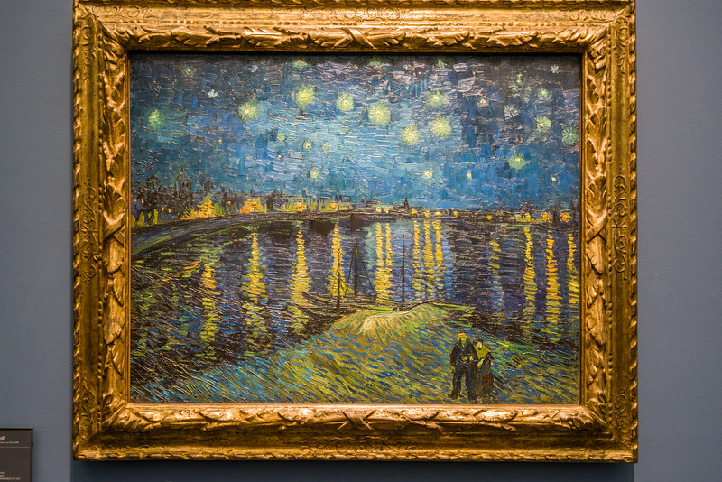 """Part of Vincent Van Gogh's """"starry night"""" series of paintings - Starry Night Over the Rhone - the view he had from his rented apartement in Place Lamartine. (Painted about 1 year before Starry Night.)"""