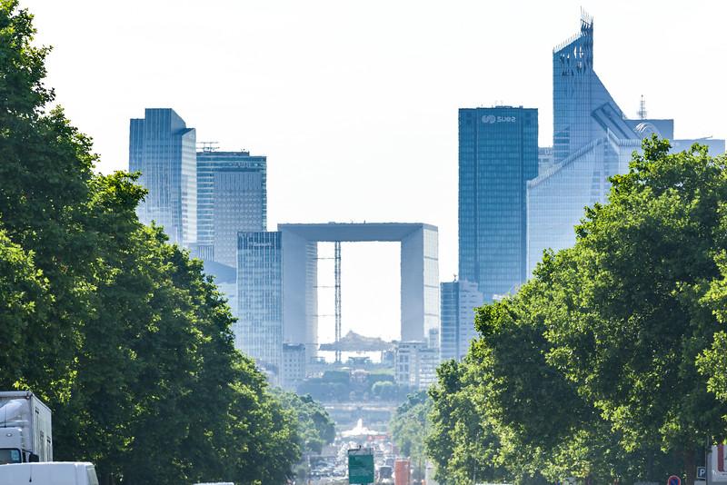 View of La Defense and La Grande Arche de la Défense.