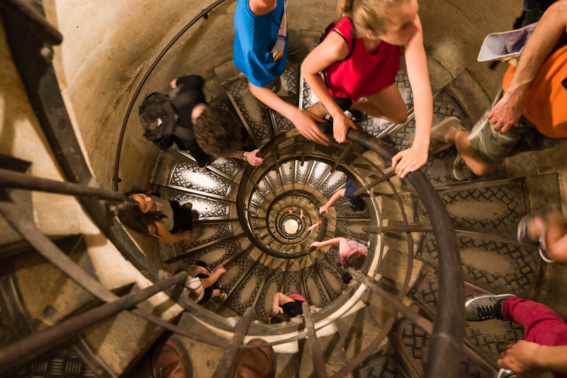 Looking down the spiral staircase going up to the top of L'Arch de Triomphe. (How many of the 284 steps do you count?)