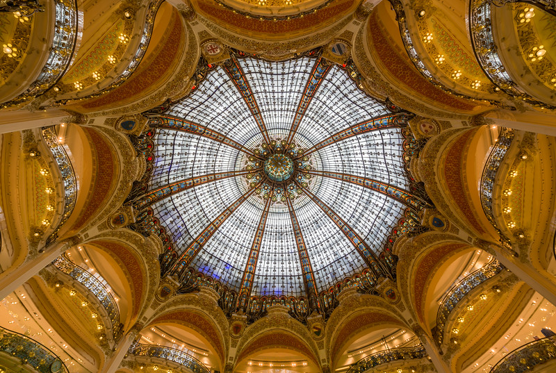 Inside the dome of Galleries Lafayette.