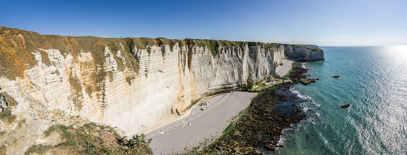 More of the downstream cliffs, le Petit Port (the small harbor), Pointe de la Courtaine (Curftain Point).