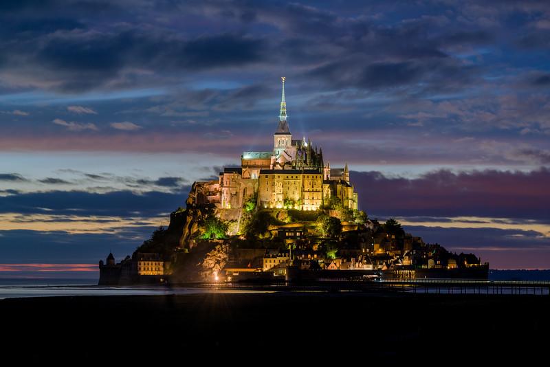 Mont St. Michel lit up at night (around 11:20 pm).
