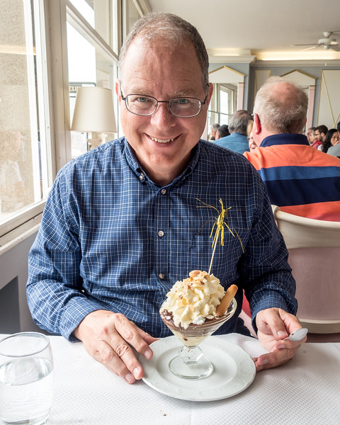 Bryan just had the boring ice cream with chocolate sauce and chantilly with nuts on top.