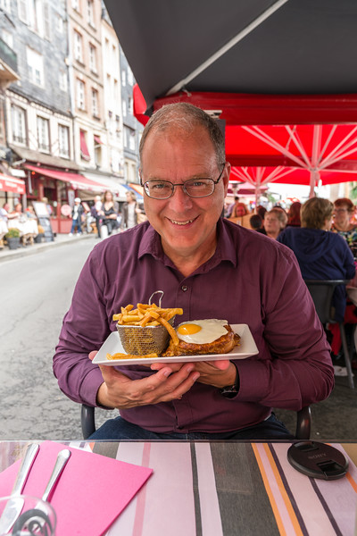 Bryan with another croque madame (& frites).