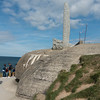 View of the monument sticking out of a bunker.