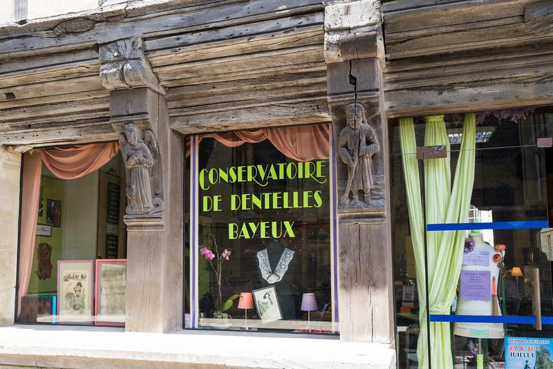 Front windows of the Bayeux Lace Conservatory (Conservatoire de Dentelles Bayeux).