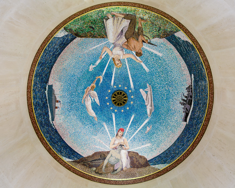 Mosaic ceiling in the chapel, depicting America blessing her sons as they depart by sea and air, and a grateful France bestowing a laurel wreath upon the American dead.