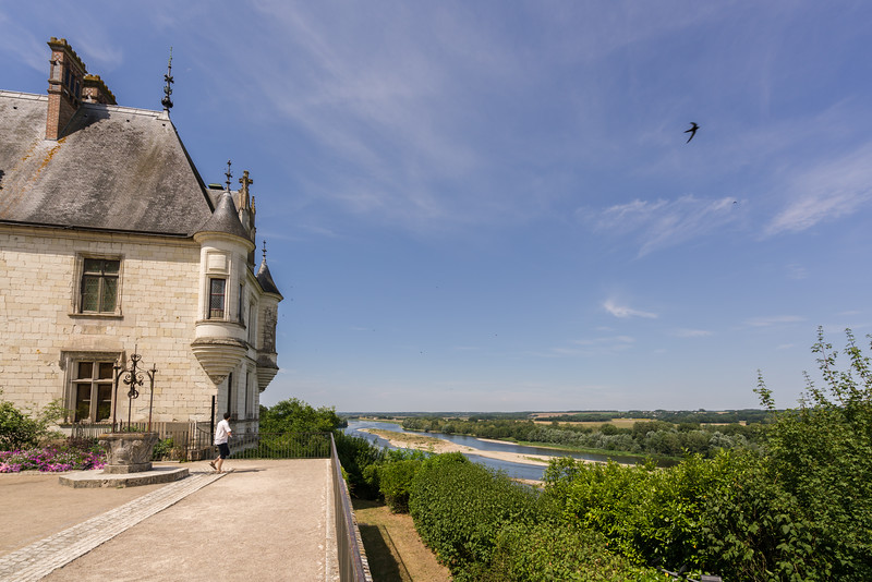 View of the Loire River from the château courtyard from the site of the original north wing that was torn down in the 1750's to bring in more light to the courtyard and inner rooms of the château itself.