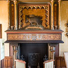 Fireplace in the grand living room. This was inspired by the Royal Château of Blois, showing a porcupine (the sign of Louis 12th) with its quills pointing at all its enemies.