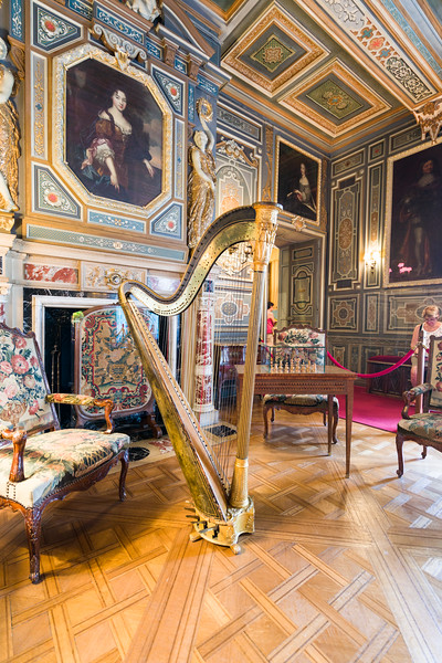 Part of the grand salon, this 17th century harp (with 8 pedals) is in perfect working condition.